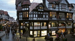 Pan of christmas shoppers, eastgate street, chester Stock Footage