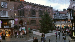 pan, the cross christmas tree, chester - stock footage