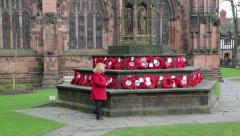 Woman visits chester cathedral war memorial Stock Footage