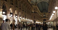 Ultra HD 4K Illuminated People Walk Shopping Vittorio Emanuele II Gallery Milan Stock Footage