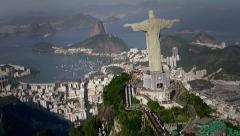Cristo Redentor, Rio de Janeiro, Brasil - Aerial View Flight Stock Footage