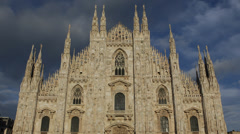 Architecture Building Iconic Milan Duomo Square Cathedral Church Italy Milano - stock footage