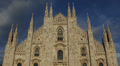 White Marble Vintage Sculpture Facade Milan Duomo Square Cathedral Church Italy Footage