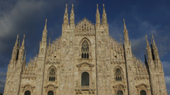 White Marble Vintage Sculpture Facade Milan Duomo Square Cathedral Church Italy Stock Footage