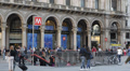 People Walking Milan Duomo Square Metro Station Entrance Subway Commuters Crowds HD Footage