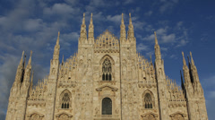 Sunset Light Milan Duomo Square Cathedral Church Italy Skyline Italian Culture Stock Footage
