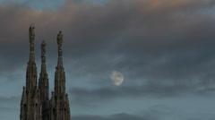 Milan West Facade Cathedral Duomo Square European Sculpture Statue Creepy Moon  Stock Footage