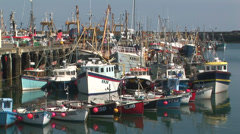Fishing boats moored Stock Footage