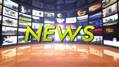 News Text in Monitors Room, Loop Stock Footage