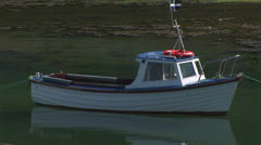 Motorboat at anchor Stock Footage
