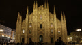 Establishing Shot Night Light People Walking Italian Landmark Duomo Church Milan Footage