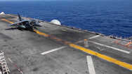 Stock Video Footage of AV-8B Harrier Takeoff launch from flight deck