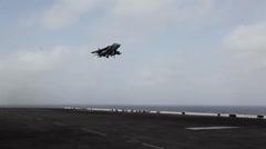Harrier Jump Jet, Aircraft flight operations aboard the USS Iwo Jima Stock Footage