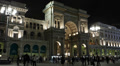 Illuminated Night Milan Italian Vittorio Emanuele Gallery II Exterior Building Footage