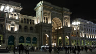 Stock Video Footage of Illuminated Night Milan Italian Vittorio Emanuele Gallery II Exterior Building