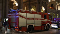 Fire Truck Firefighter Emergency Exit Rescue Citizens Duomo Metro Station Danger Stock Footage