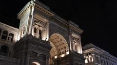 Night Vittorio Emanuele Gallery II Emergency Fire Truck Firefighters Duomo Metro Stock Footage