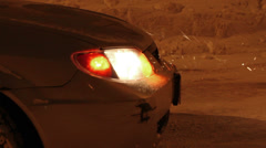 Car hazard lights flashing Stock Footage