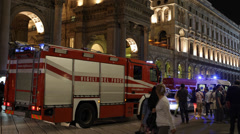 Fire Truck Firefighter Ambulance Police Car Emergency Duomo Square Metro Station Stock Footage