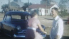 Old Vintage Film 1950 Family Outdoor Cars Bicycle Ride Yard Period Dress Stock Footage