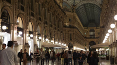 Illuminated Evening People Walking Shopping Vittorio Emanuele II Gallery Milan Stock Footage