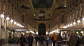 Night Lit Crowds People Walking Milan Italy Vittorio Emanuele Gallery Busy City Footage