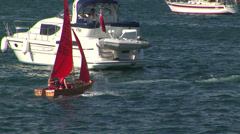 Skiff sailboat Stock Footage