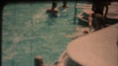 Vintage 8mm film, public swimming pool Stock Footage