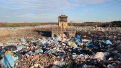 Garbage dump. Bulldozer at garbage landfill. 6 Stock Footage