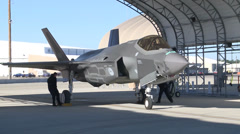 Dutch F-35 Lightning II is flown by a Royal Netherlands Air Force Pilot Stock Footage