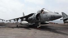 Harrier, Aircraft flight operations aboard the USS Iwo Jima Stock Footage