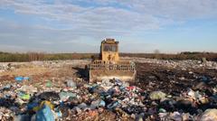 Garbage dump. Bulldozer at garbage landfill. 7 Stock Footage