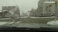 Salt Lake City snow blizzard downtown fast timelapse POV HD 0216 - stock footage