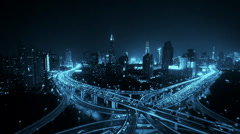 Stock Video Footage of time lapse of freeway busy city rush hour heavy traffic jam highway at night.
