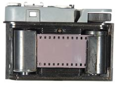 very old classic camera, rear view, cover removed, the body is divided, isola - stock photo