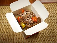 Take-out food - noodles with pork Stock Photos