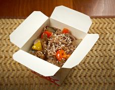 take-out food - noodles with pork - stock photo