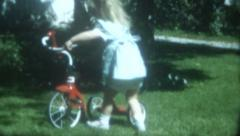 Old Vintage Film 1950 Joyful  Cute Little Girl New Red Tricycle Birthday Present Stock Footage