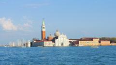 4K 4096x2304 Venice, view on San Giorgio Maggiore island, Italy, time-lapse. Stock Footage