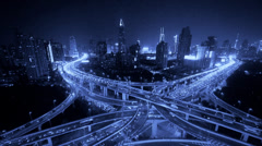 Aerial View of freeway busy city rush hour heavy traffic jam highway at night. Stock Footage