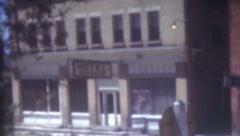 8mm Vintage Film 1950 Downtown Street Front Scenes Buildings Signs Ephraim Utah Stock Footage