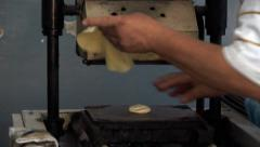 Tortilla press machine with dough Stock Footage