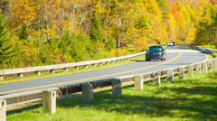 Tilting-up from Parkway Traffic to Grandfather Mountain, NC Stock Footage