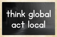 think global act local concept - stock illustration