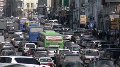 Street with cars in Vladivostok Stock Footage