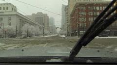 Salt Lake City urban downtown snow storm blizzard POV HD 0216 Stock Footage