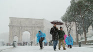 Stock Video Footage of Rome in snow 6 (Colosseum & Arch of Constantine) slow motion