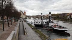 The Danube River Regensburg Stock Footage