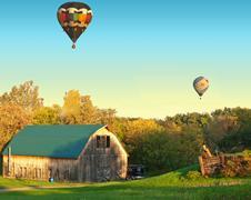 barn and balloons - stock photo