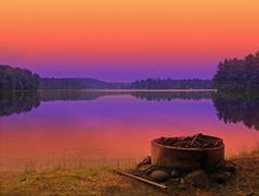 Campsite sunset Stock Photos